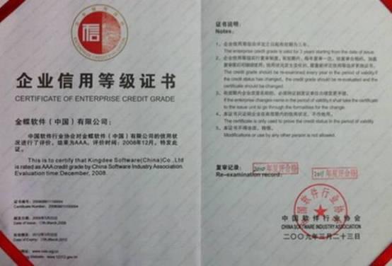 金蝶荣获软件企业信用评价复评最高级别信用认证